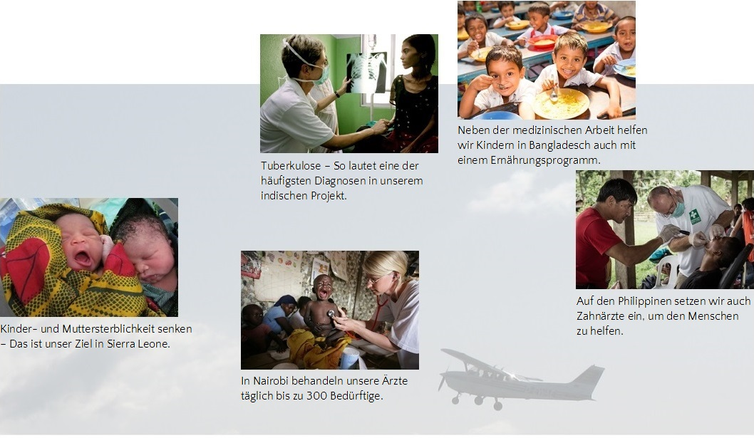 Projekte der German Doctors auf den Philippinen, in Indien, Bangladesch, Kenia und Sierra Leone